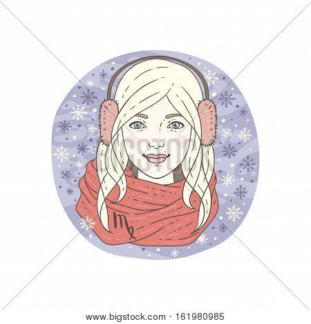 Virgo zodiac sign. Winter season illustration. Vector illustration isolated on white.