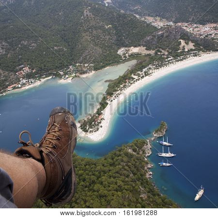 Oludeniz (Blue Lagoon) and Belcekiz beaches viewing from 2000 feet on paragliding