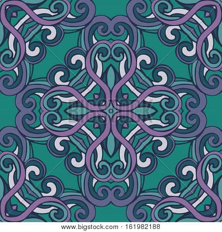 Seamless abstract tiled pattern vector. Geometric classical damask ornament