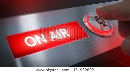 Finger pressing a microphone button to activate an on air sign. Composite between an image and a 3D background