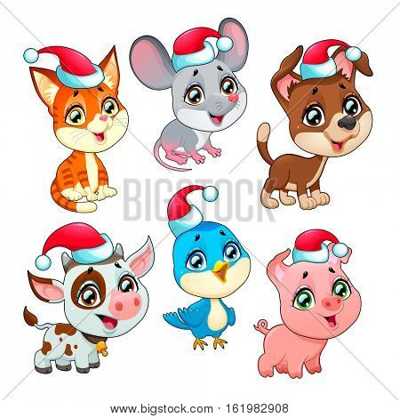 Funny Christmas farm animals. Vector isolated elements.