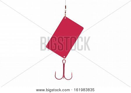 Credit card with fishhook isolated red color