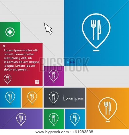 Map Pointer With Restaurant Icon Sign. Buttons. Modern Interface Website Buttons With Cursor Pointer