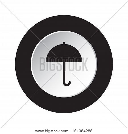 isolated round black and white button with black umbrella icon
