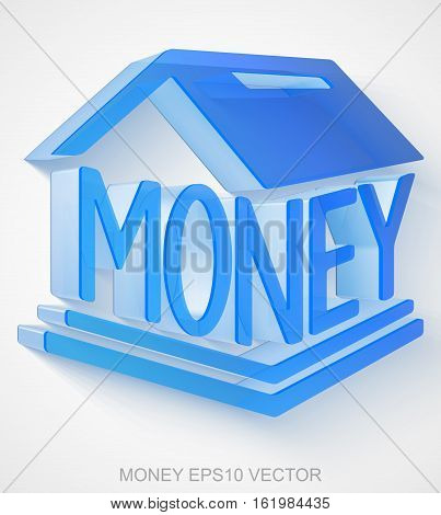 Currency icon: extruded Blue Transparent Plastic Money Box with transparent shadow, EPS 10 vector illustration.