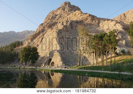 KERMANSHAH, IRAN - OCTOBER 3, 2016: Caves Taq-e Bostan historical site of Kermanshah on October 3, 2016 in Iran, Asia