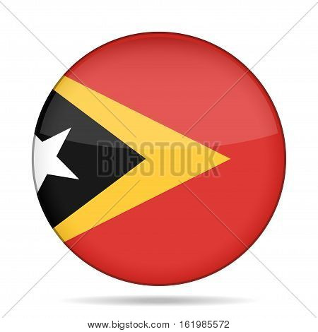 National flag of East Timor. Shiny round button with shadow.