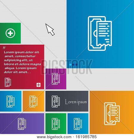 Cheque Icon Sign. Buttons. Modern Interface Website Buttons With Cursor Pointer. Vector