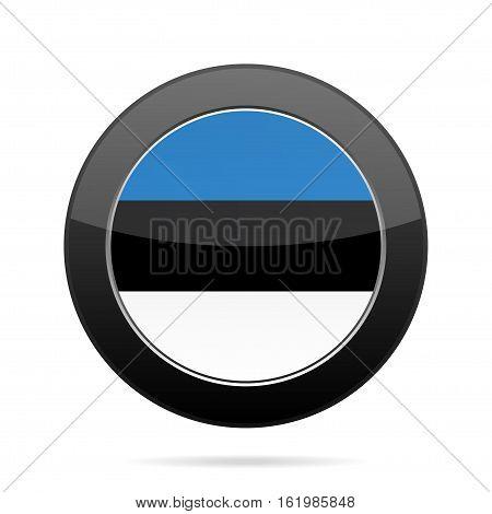 National flag of Estonia. Shiny black round button with shadow.