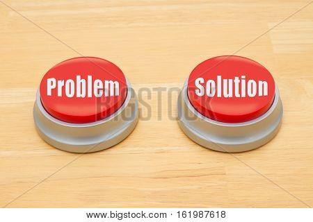 The difference between the problem and the solution Two red and silver push button on a wooden desk with text problem and solution