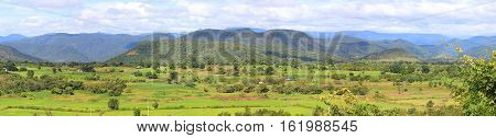 Panoramic photo of valley landscape with mountains in the background in Lam Dong area Vietnam