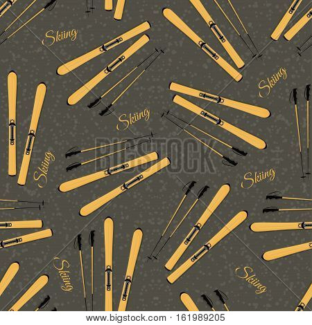 Seamless Background With Mountain Skiing And Sticks. Pattern.