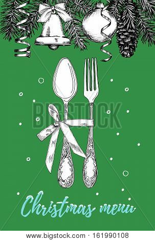 Hand drawn illustration of curly ornamental silver tableware plate a green background. Vector frame with hand drawn elements: branches of fir cones streamers bell bow Christmas ball. Vector Illustration
