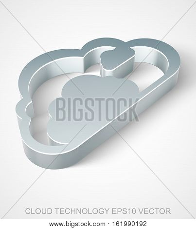 Cloud computing icon: extruded Metallic Cloud with transparent shadow, EPS 10 vector illustration.