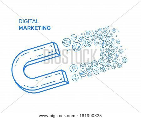 Vector illustration with blue icon in flat line style. Design concept for digital marketing, social campaign, engaging, blogging Use in Web Project and Applications. Outline isolated object.