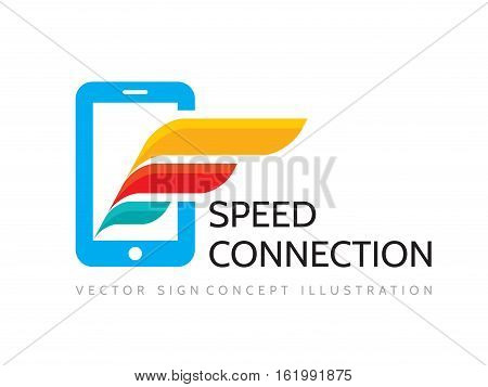 Speed connection - vector business logo template. Mobile phone and wing creative illustration. Modern smartphone technology symbol. Cellphone concept sign. Design elements.