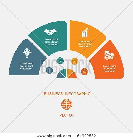 Semicircle template infographic 4 positions for text area