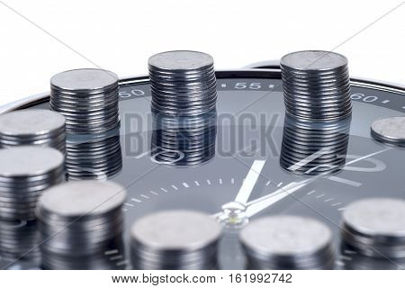 saving money. financial report. time is money and wealth. concept of time and money.