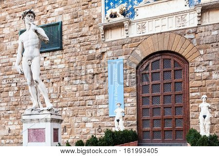 Statue David At The Entrance Of Palazzo Vecchio