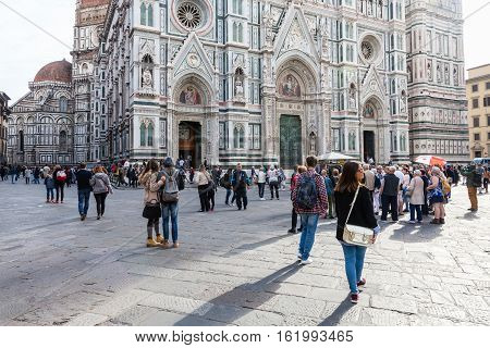 Tourists On Piazza Del Duomo Near Cathedral