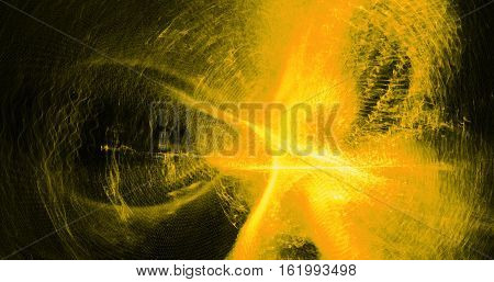Abstract Design In Yellow Lines Curves Particles On Dark Background