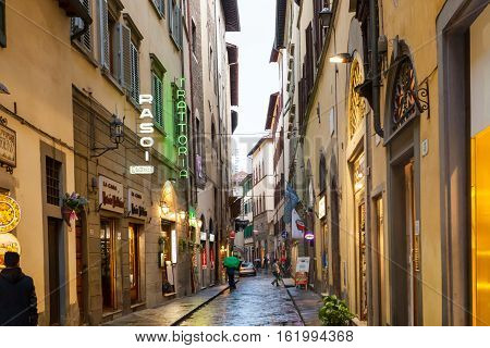 Medieval Street With Shops In Center Of Florence