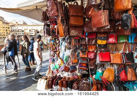 Local Leather Bags On Street Shop In Florence