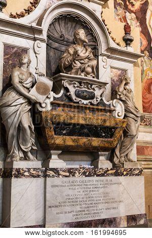 Tomb Of Galileo Galilei In Basilica Di Santa Croce