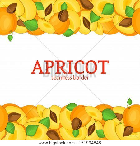 Ripe apeicot Horizontal seamless border. Vector illustration card top and bottom Juisy apricots fruits whole and slice, leaf appetizing looking for packaging design of juice breakfast, healthy eating