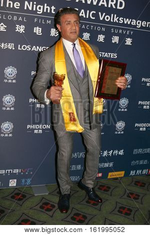 LOS ANGELES - DEC 15:  Sylvester Stallone at the 21st Annual Huading Global Film Awards - Press Room at The Theatre at The ACE Hotel on December 15, 2016 in Los Angeles, CA