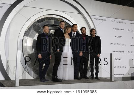 LOS ANGELES - DEC 14:  Imagine Dragons, Jennifer Lawrence, Chris Pratt at the
