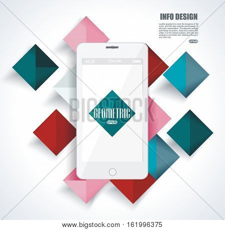 Mobile cell phone on colorful vibrant geometry shapes background. Social media concept.