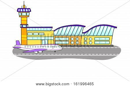 Airport building. The plane on the runway. Flight control tower.