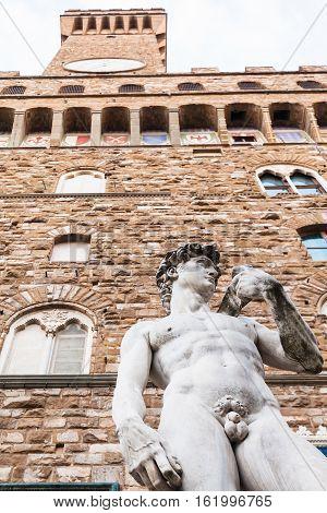 Statue David Near Palazzo Vecchio In Florence