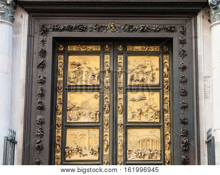 Outdoor East Doors Of Baptistery In Florence