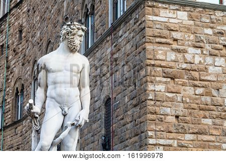 Figure Of Neptune And Wall Of Palazzo Vecchio