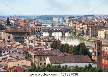 Above View City And Of Ponte Vecchio In Florence