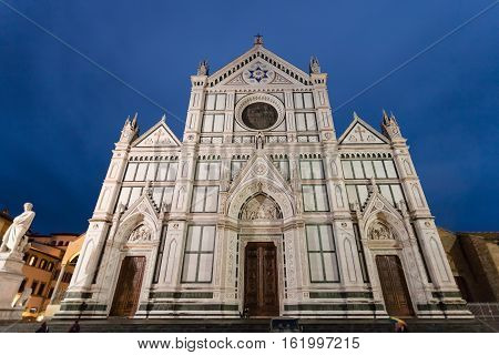 Facade Of Basilica Di Santa Croce In Night
