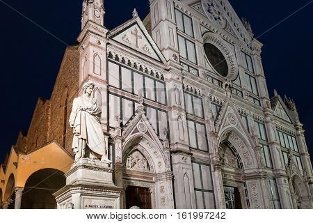 Statue Of Dante And Basilica Santa Croce In Night