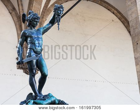 Statue Perseus With The Head Of Medusa On Piazza