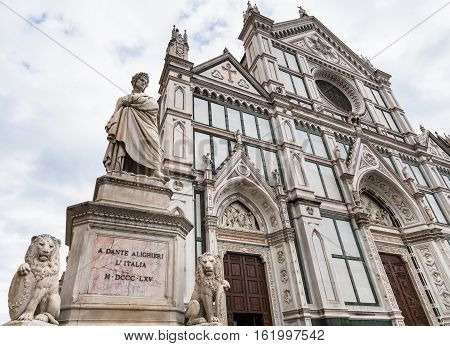 Monument Of Dante And Basilica Di Santa Croce