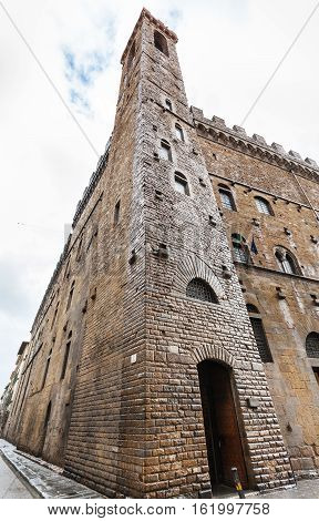 Wet Tower Of Bargello Palace In Florence In Rain