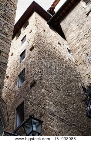 Old Tower Among Residential Houses In Florence