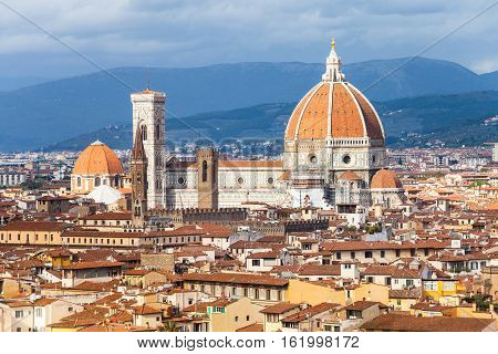 Above View Of Florence City With Cathedral