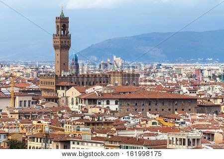 Above View Of Florence City With Palazzo Vecchio
