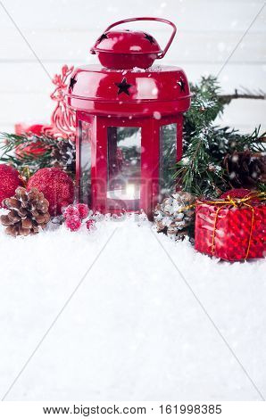 Christmas lantern with snow background on white boards