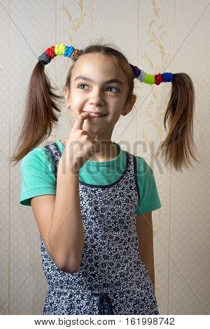 11 Year Old Girl With Pigtails Like Pippi Longstocking With A Mischievous Look On Her Face And Her F