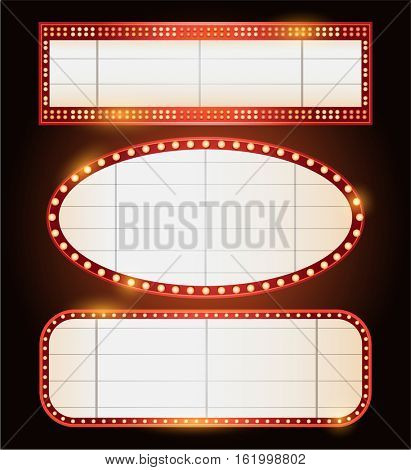Three Brightly theater glowing retro cinema neon sign