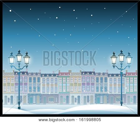 Christmas town illustration cityscape. Seamless pattern