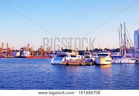 Seaport in Odessa in the evening, Odessa, Ukraine